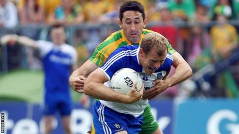Owen Lennon battles with Donegal's Rory Kavanagh in the 2013 Ulster Football Final