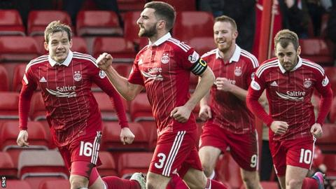 Graeme Shinnie scored a cracking first-half goal to send Aberdeen ahead