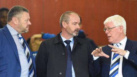 John Kiltie (right) speaking with manager Steve Clarke (centre) and director Billy Bowie