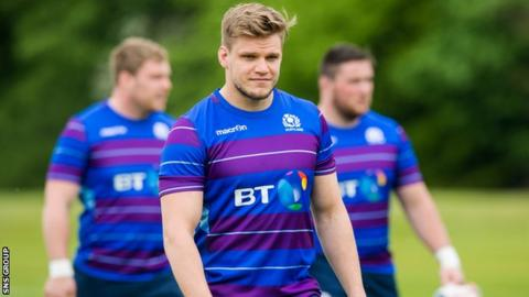 George Turner training with Scotland before the summer tour