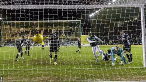Dominique Malonga scores for Hibernian against Queen of the South