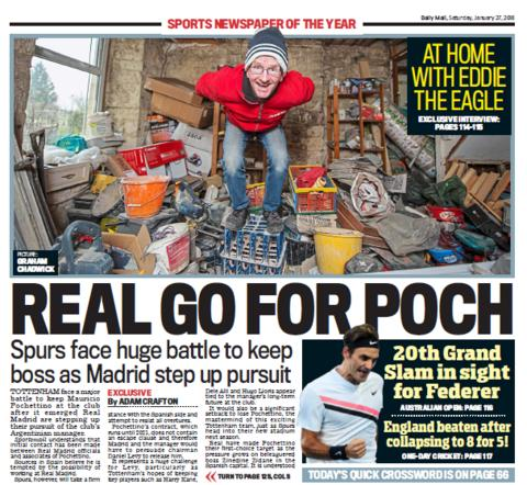 Daily Mail back page on Satuday