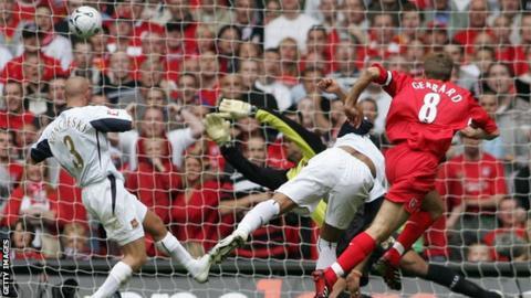 Steven Gerrard scores against West Ham in the 2006 final