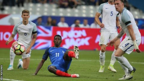 Ousmane Dembele in action for France against England