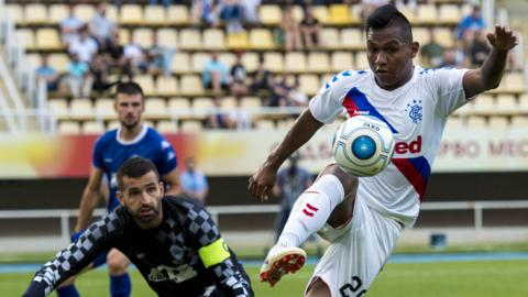 Alfredo Morelos in possession for Rangers against Shkupi