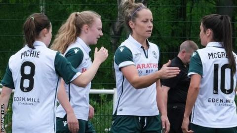 Joelle Murray of Hibs (second right)