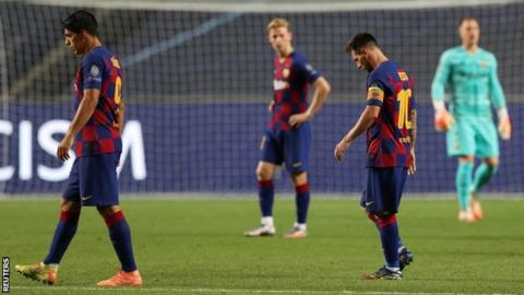 Lionel Messi looking dejected during Barcelona's Champions League defeat by Bayern Munich