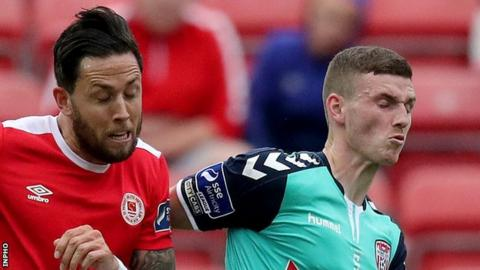 Kurtis Byrne and Harry Monaghan of Derry