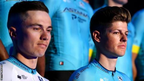 Alexey Lutsenko and Jakob Fuglsang at an Astana team presentation