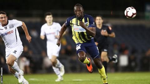 Usain Bolt playing for Central Coast Mariners