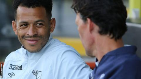 Derby specialist coach Liam Rosenior at work during a pre-season game at Burton