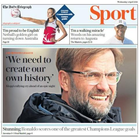 Telegraph sports page