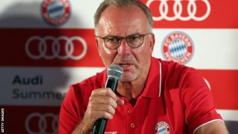 Bayern Munich chairman Karl-Heinz Rummenigge speaks at a press conference