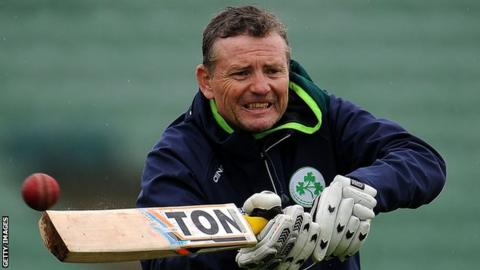 Ireland coach Graham Ford managed to get a hit as the rain briefly abated in Taunton