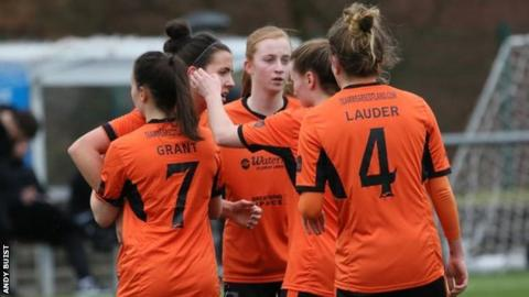 Abbi Grant (left) celebrates her goal with her Glasgow City team-mates