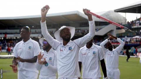 Roston Chase celebrating for West Indies