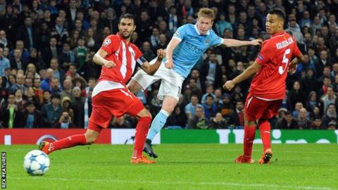 Manchester City midfielder Kevin de Bruyne scores the winner against Sevilla