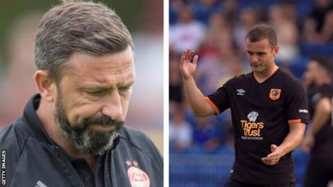 Aberdeen manager Derek McInnes and Shaun Maloney
