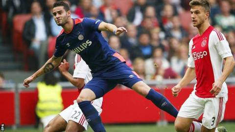 Gaston Pereiro scores the first of his two goals against Ajax