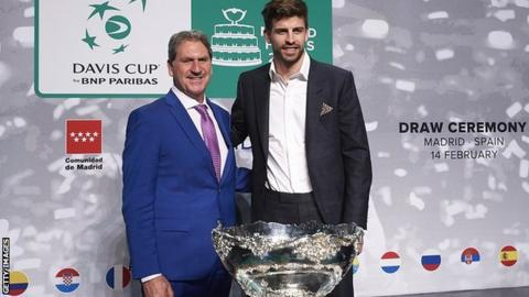 Gerard Pique at the draw for the Davis Cup in Madrid