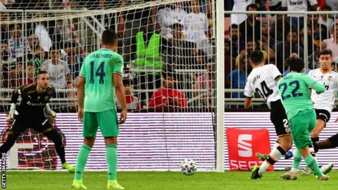 Real Madrid's Isco doubles their lead against Valencia in the Spanish Super Cup semi-final