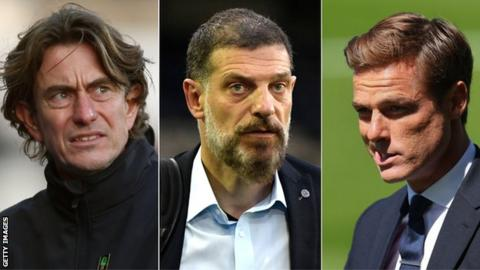Man united news  football news  football transfer and rumours (l-r) Thomas Frank, Slaven Bilic and Scott Parker