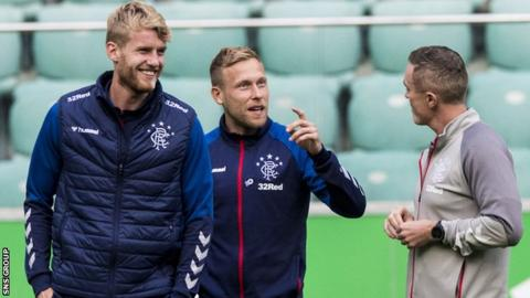 Defender Filip Helander (left) has been drafted in to Rangers' squad for the match in Warsaw