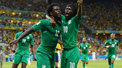 Wilfried Bony celebrates after scoring against Greece in the 2014 World Cup