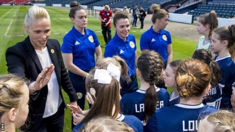 Head coach Shelley Kerr and the Scotland players meet fans