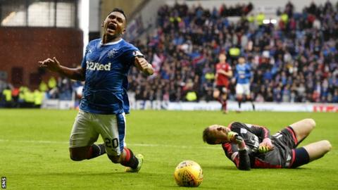 Alfredo Morelos tumbles under the challenge of Elliot Parish