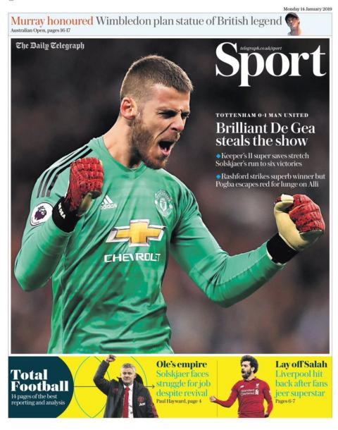 Monday's Telegraph back page