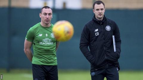 Celtic captain Scott Brown and assistant manager Chris Davies