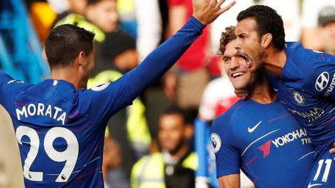 Chelsea goalscorers Alvaro Morata, Marcos Alonso and Pedro
