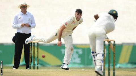 England bowler James Anderson in action during the third day of the warm-up match against South Africa A