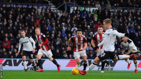 Matej Vydra blasts Derby ahead against Sheffield United from the penalty spot