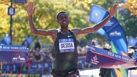 Lelisa Desisa crosses the line to win the New York Marathon
