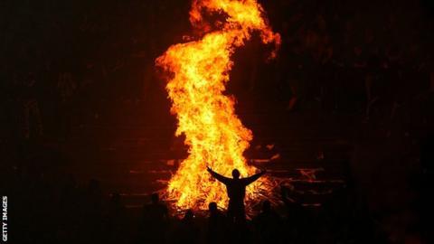 Fire at Belgrade derby