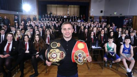 Glengormley High's most famous son returned to a hero's welcome for the Make It Super Assembly