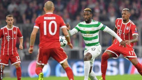 Celtic striker Moussa Dembele in action against Bayern Munich