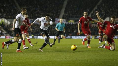 Tom Ince scores for Derby