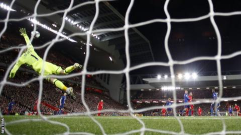 Manchester United keeper David de Gea saves a shot from Philippe Coutinho