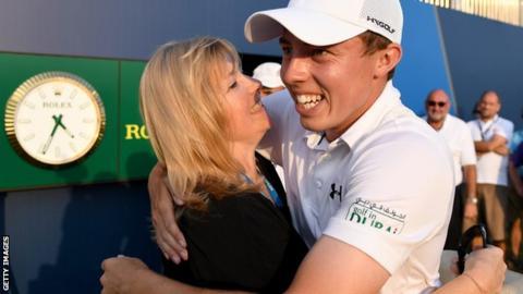British golfer Matthew Fitzpatrick celebrates winning the DP World Tour Championship