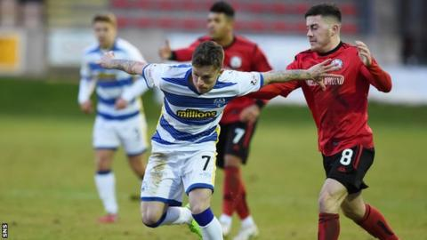 Morton's Gary Oliver contests the ball with Brechin City's Finn Graham
