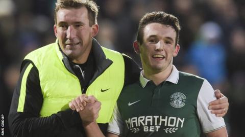 Manager Alan Stubbs with match-winner John McGinn