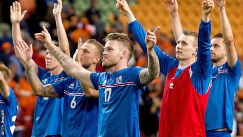 Iceland's celebrate qualifying for Euro 2016
