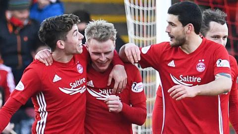 Aberdeen celebrate a goal from Gary Mackay-Steven