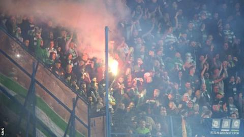 Celtic fans in the Sukru Saracoglu Stadium