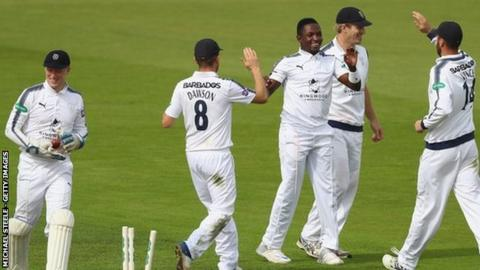 Fidel Edwards claimed his second five-wicket haul in three games to help bowl out Warwickshire for 188
