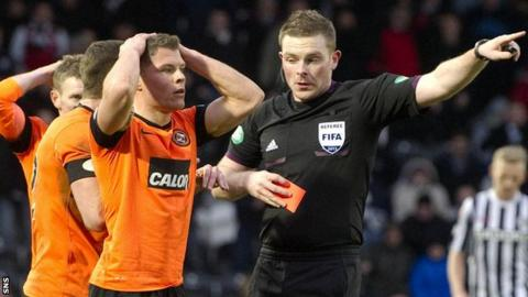 Dundee United's John Rankin is sent off by referee John Beaton in 2013