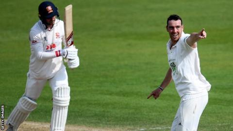 Hampshire's Kyle Abbott in action against Essex